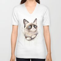 grumpy V-neck T-shirts featuring Grumpy Watercolor Cat by Olechka