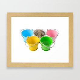 Colorful buckets Framed Art Print
