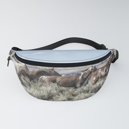Horses Running On Steens Mountain Fanny Pack