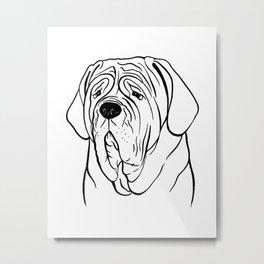 Neapolitan Mastiff (Black and White) Metal Print