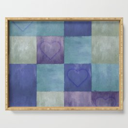 Blue Tiles with Hearts Serving Tray