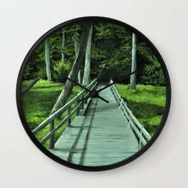 Bridge in the Woods Painting, Print of Original Art, Path in the Forest Art Print, Wall Clock