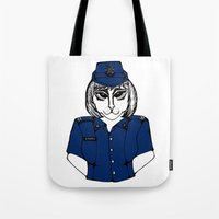 police Tote Bags featuring Police Kitty by Sofy Rahman