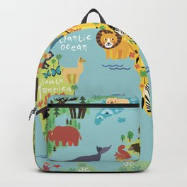 World animals map Backpack