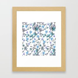 Modern lavender teal floral elephant butterfly pattern Framed Art Print