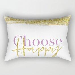 Text Art CHOOSE HAPPY | white & gold Rectangular Pillow
