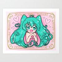 vocaloid Art Prints featuring Vocaloid: Love Miku by Alice In Underwear