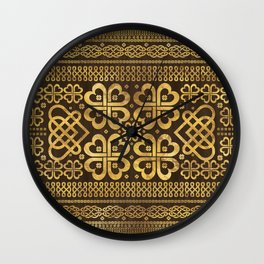 Shamrock Four-leaf Clover Wood and Gold Wall Clock