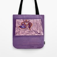 om Tote Bags featuring om by Loosso