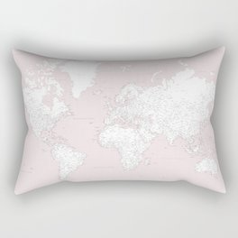 World map, highly detailed in dusty pink and white, square Rectangular Pillow