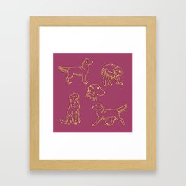 Golden Retriever Pattern (Berry Background) Framed Art Print