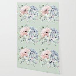 Delightful Mint + Pink Succulents Wallpaper