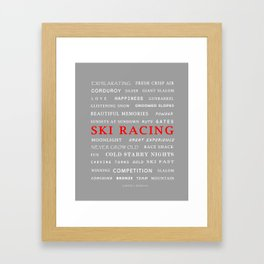 Ski Racing Light Grey Framed Art Print