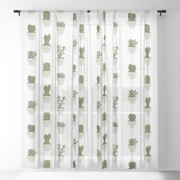 Cacti & Succulents - White Sheer Curtain