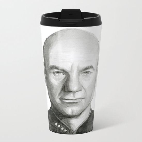 Captain Picard Watercolor Portrait Metal Travel Mug