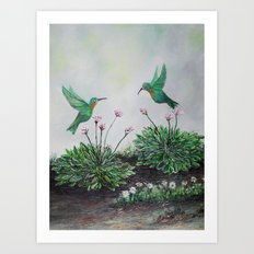 Hummingbirds and Hostas Art Print