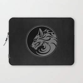 Gray and Black Growling Wolf Disc Laptop Sleeve