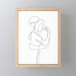 Lovers - Minimal Line Drawing Framed Mini Art Print