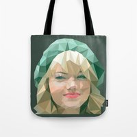 emma stone Tote Bags featuring Emma Stone by You Xiang