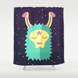 Yacana: The Space Llama Head (Cyan) Shower Curtain