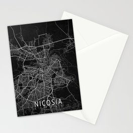 Nicosia City Map of Cyprus - Dark Stationery Cards