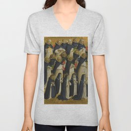 "Fra Angelico (Guido di Pietro) ""Fiesole Altarpiece - The Dominican Blessed"" 2 Unisex V-Neck"