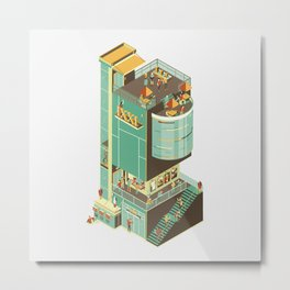 Isometric IXXI Cinema Building Metal Print
