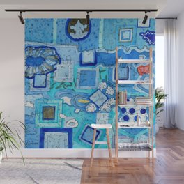 Blue Room with Blue Frames Wall Mural