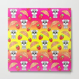 Cute happy funny baby puppy Schnauzers, sweet adorable yummy Kawaii croissants and red ripe summer strawberries cartoon sunny bright yellow and pink design Metal Print