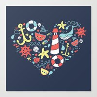 nautical Canvas Prints featuring Nautical by lindsey salles