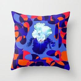 Modern Blue White Iris Orange Saffron Black Design Throw Pillow