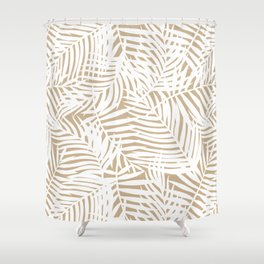Tropical Almond Brown Leaves Shower Curtain