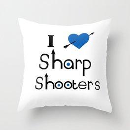 I Love Sharp Shooters Throw Pillow