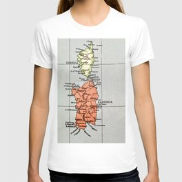Corsica and Sardinia Vintage Map #love #Italy T-shirt