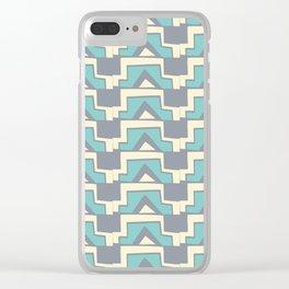 Elegant Modern Geometric Lines Pale Blue Clear iPhone Case