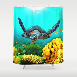 Turtle in Water Shower Curtain
