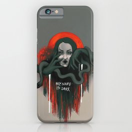 My name is dark graffiti girl portrait with snake iPhone Case