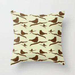 Brown Bird Silhouette Throw Pillow