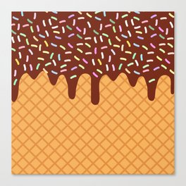 waffles with flowing chocolate sauce and sprinkles Canvas Print