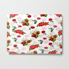 Roses and Strawberry Pattern Metal Print