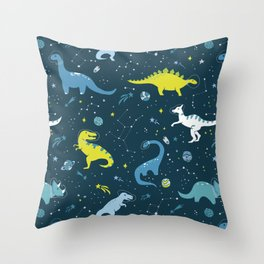 Space Dinosaurs in Bright Green and Blue Throw Pillow