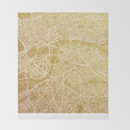 Gold London map Throw Blanket