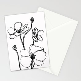 one line flowers Stationery Cards