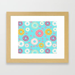 hearts and donuts blue Framed Art Print