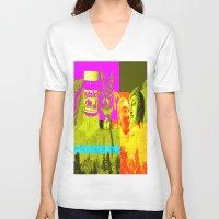nutella V-neck T-shirts featuring Mountain Rushmore  by Latidra Washington