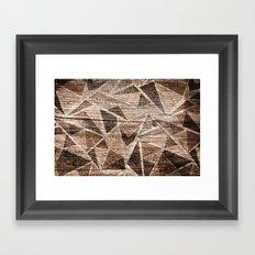 Old wood . Brown triangles . Framed Art Print