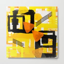 yellow orange white black abstract geometric digital painting Metal Print
