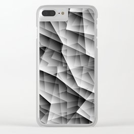 Monochrome pattern of chaotic black and white glass fragments, irregular cubic figures and ice floes Clear iPhone Case