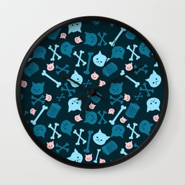 Trash Cat Pattern Wall Clock