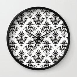 Damask Pattern   Black and White Wall Clock